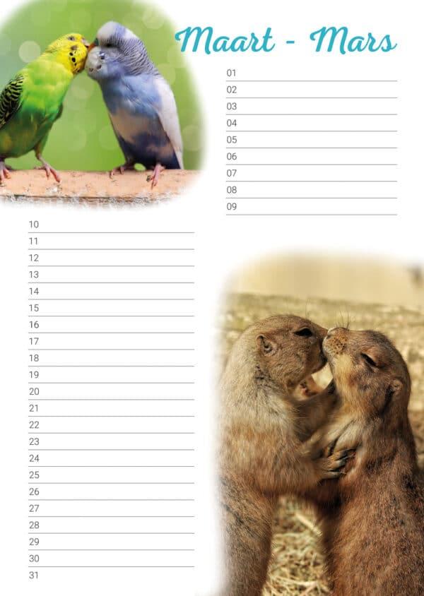 verjaardagskalender 'Animals in Love' Maart