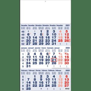 3-maandkalender 2022 Classic blauw