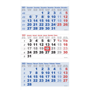 3-maandkalender Maxi blauw 2022