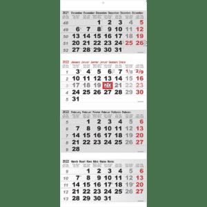4-maandkalender Maxi grijs 2022