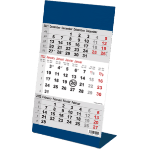 Kantoorkalender 3 maand Color blauw 2022