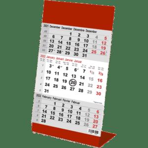 Kantoorkalender 3 maand Color rood 2022