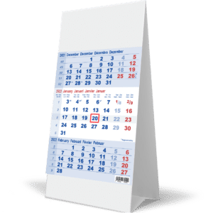 Kantoorkalender 3 maand Blauw 2022